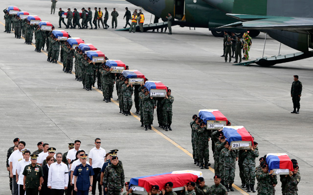 Arrival honors at Villamor airbase where President Aquino was absent